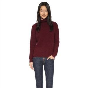 Madewell Aria red waffle knit wool turtleneck M